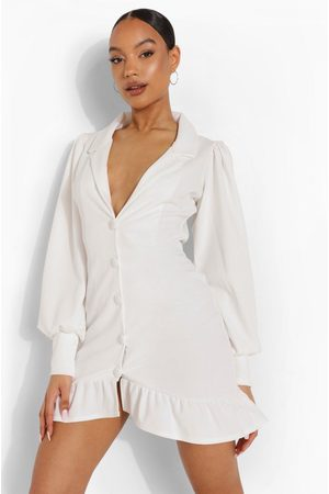 Boohoo Womens Volume Sleeve Ruffle Hem Blazer Dress - - 4