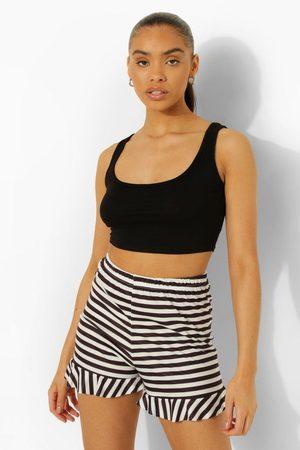 Boohoo Womens Stripe Frill Hem Shorts - - 2