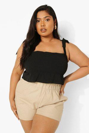 Boohoo Womens Plus Linen Shirred Tie Smock Cami Top - - 12