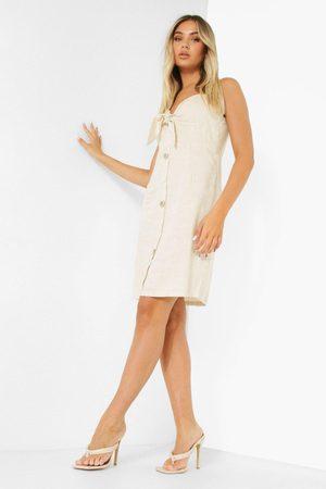 Boohoo Womens Tie Detail Button Through Mini Dress - - 6