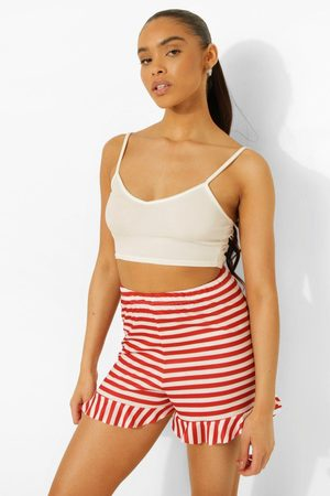 Boohoo Womens Stripe Frill Hem Shorts - - 2