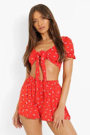 Boohoo Womens Ditsy Floral Knot Crop & Ruffle Hem Shorts - - 2
