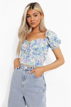 Boohoo Womens Tall Woven Floral Print Puff Sleeve Crop Top - - 2