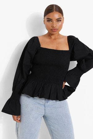 Boohoo Womens Plus Shirred Puff Sleeve Peplum Top - - 12