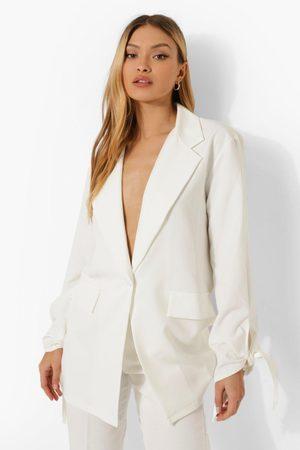 Boohoo Womens Tie Sleeve Tailored Blazer - - 4