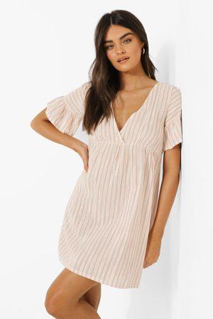 Boohoo Womens Stripe Frill Sleeve Smock Dress - - 4