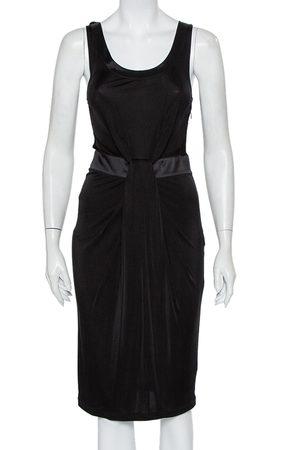 Emporio Armani Knit Contrast Trim Draped Detail Sleeveless Midi Dress S