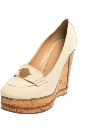 Chloé Chloé Off Canvas Cork Wedge Platform Penny Loafer Pumps Size 41