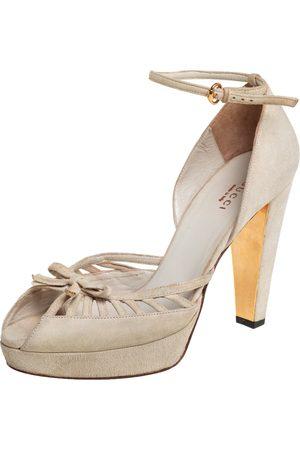 Gucci Off- Suede Bow Platform Ankle Strap Sandals Size 36.5