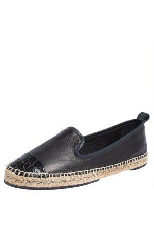 Fendi Navy Leather And Black Croc Embossed Cap Toe Junia Espadrilles Flats Size 40