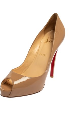 Christian Louboutin Patent Leather New Very Prive Peep Toe Platform Pumps Size 39.5
