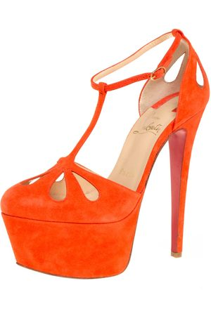 Christian Louboutin Suede T-Strap Mayada Platform Sandals Size 36.5