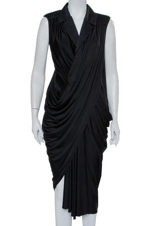 Saint Laurent Knit Collared Draped Asymmetrical Hem Sleeveless Dress M