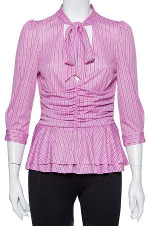 Balenciaga Striped Knit Ruched Waist Neck Tie Detail Top M