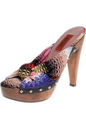 Missoni Knit Fabric Knotted Clog Platform Sandals Size 38