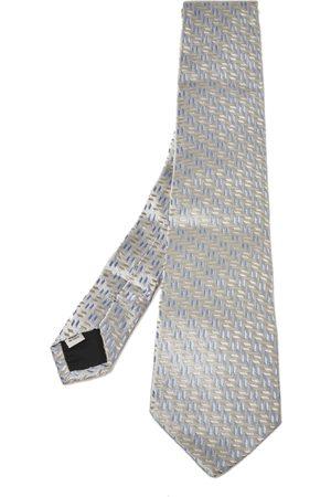 VALENTINO Grey Geometric Patterned Silk Jacquard Tie
