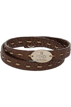 Fendi Metallic Selleria Leather Double Wrap Bracelet