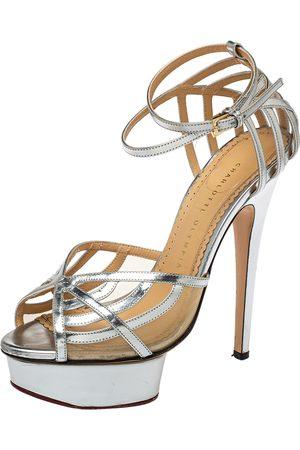 Charlotte Olympia Leather Octavia Platform Ankle Strap Sandals Size 38