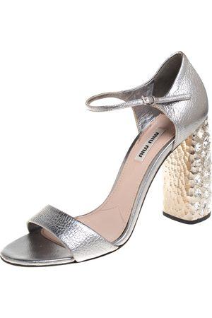 Miu Miu Leather Crystal Embellished Heel Ankle Strap Sandals Size 39