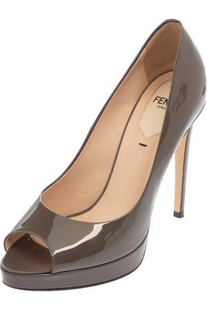 Fendi Grey Patent Leather Peep Toe Platform Pumps Size 36