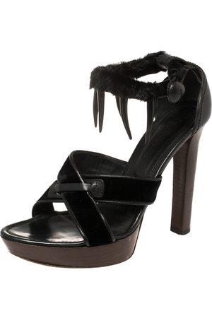 Saint Laurent X Tom Ford Velvet And Leather Fur Ankle Strap Safari Platform Sandals Size 38.5
