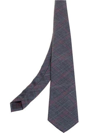 BRIONI Grey Prince Of Wales Check Wool Tie