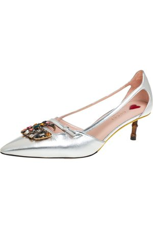 Gucci Leather GG Crystal Bamboo Heel Pumps Size 39