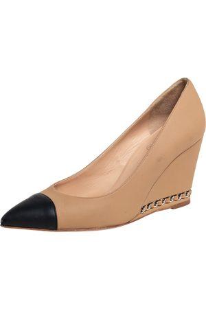 CHANEL /Black Leather Wedge Cap Toe Pumps Size 38.5
