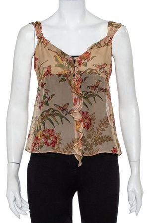 Max Mara Women Camisoles - Floral Printed Silk Button Front Ruffled Cami Top S