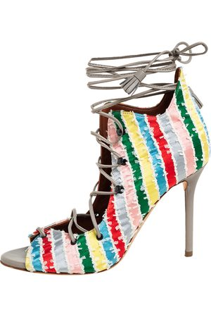 MALONE SOULIERS Multicolour Frayed Fabric Savannah Open Toe Booties Size 36