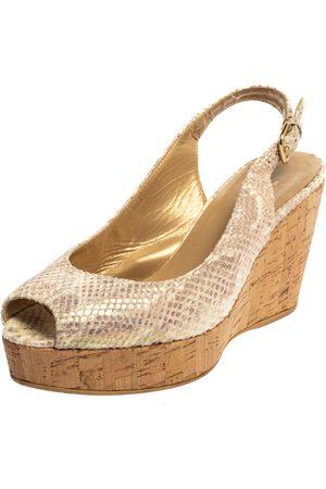 Stuart Weitzman Iridescent Snake Print Suede Jean Wedge Platform Slingback Sandals Size 37.5