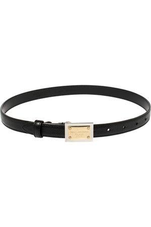 Dolce & Gabbana Grained Leather Logo Plaque Belt 65 CM
