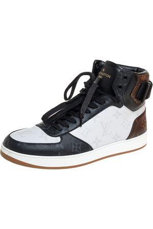 LOUIS VUITTON Tricolor Monogram Canvas Rivoli High Top Sneakers Size 40
