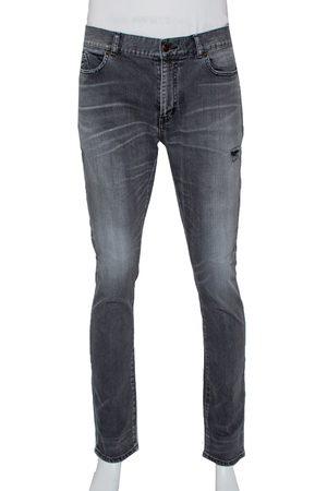 Saint Laurent Grey Faded Denim Distressed Straight Leg Jeans L