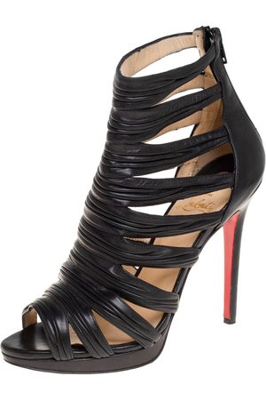 Christian Louboutin Leather Strappy Open Toe Ankle Bootie Size 38.5