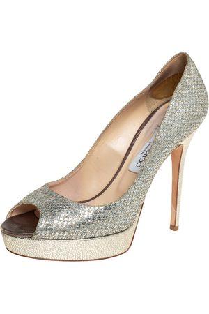 Jimmy Choo Metallic Glitter Fabric Dahlia Platform Peep Toe Pumps Size 40