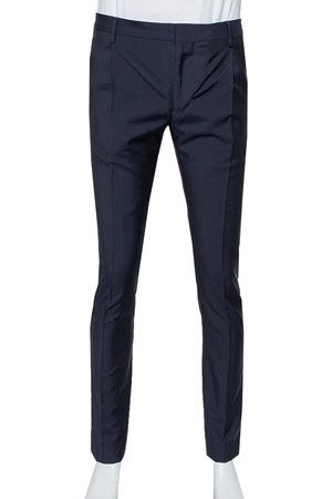 VALENTINO Navy Wool & Mohair Mid Rise Trousers XS