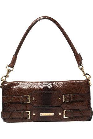 Escada Ombre Python Embossed Leather Buckle Flap Shoulder Bag