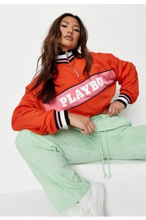 Missguided Playboy X Varsity Cropped Tracksuit Top