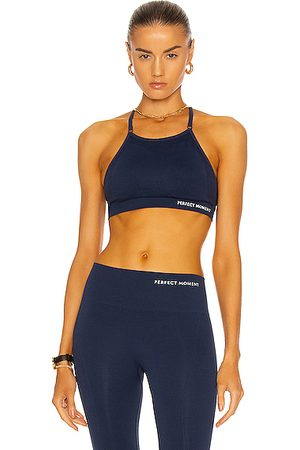 Perfect Moment Intarsia Fitness Top in Navy