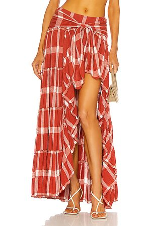 RAISA & VANESSA High Slit Plaid Maxi Skirt in Rust
