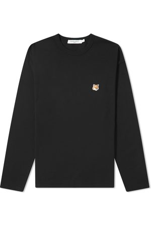 Maison Kitsune Men Long Sleeve - Long Sleeve Fox Head Patch Regular Tee