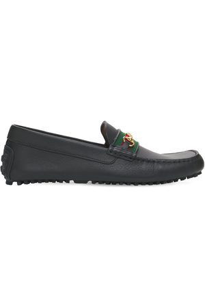 Gucci 10mm Web Leather Driver Loafers