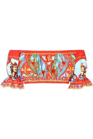 Dolce & Gabbana Women Strapless Tops - Graphic-print off-shoulder crop top