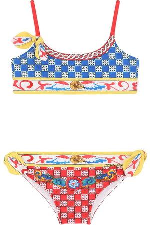 Dolce & Gabbana Girls Bikinis - Geometric-print bikini