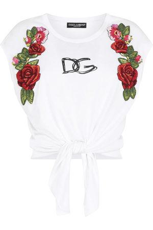 Dolce & Gabbana Women Tank Tops - Floral-appliqué logo crop top