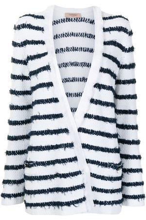 Twin-Set Women Cardigans - Stripe-print V-neck cardigan