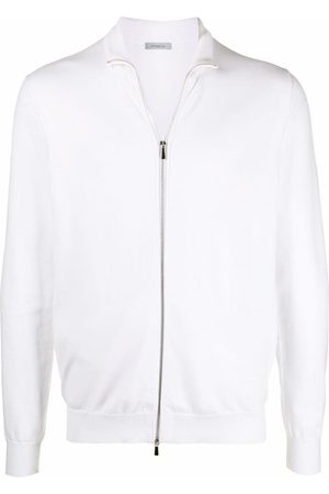 Malo Men Sweatshirts - Striped zip-up jumper - Neutrals