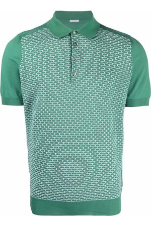 Malo Men Polo Shirts - Geometric-print short-sleeved polo shirt