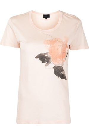 Emporio Armani Women T-shirts - Rose-print cotton T-shirt